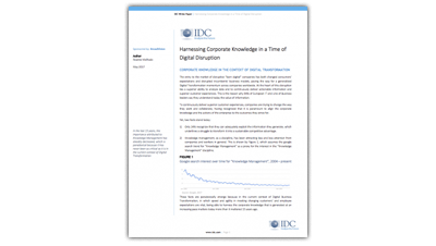 White paper IDC: sfruttare la Conoscenza Aziendale nell'era della Digital Disruption